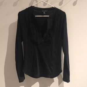 Black long sleeves top with front ruffles placket